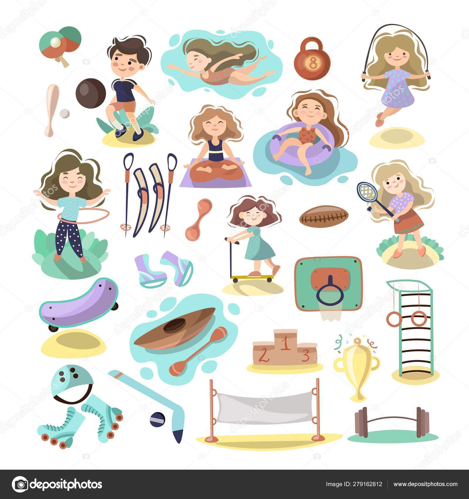 Kids Doing Sport Games Vector Cartoon Illustration Playing Jumping Swimming Boys And Girls With Sports Equipment Balls Sport Games And Summer Kids Activities With Equipment On White Background Stock Vector C