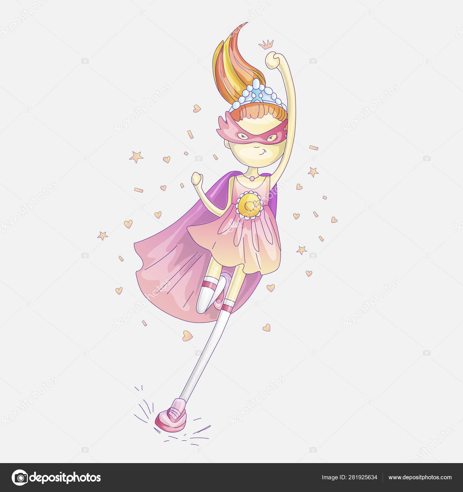 Superhero Princess Little Teen Girl As A Vector Cartoon Illustration With Gradients Super Hero Running And Fighting Brave Cute Feminism Concept About Girls Image By C