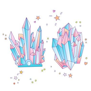 Blue and pink crystal, cartoon cute vector Quartz illustration. Quartz Crystal druse, pink princess grain on white background. Cartoon red semiprecious stones of blue Quartz, cute bright princess