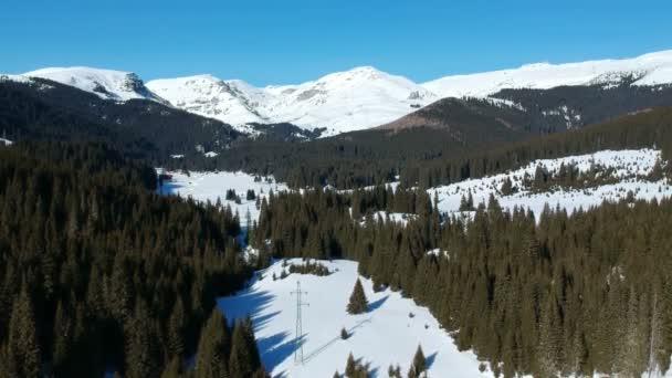 Alpská krajina údolí v zimě, zasněžené vrcholky pohoří Bucegi Mountains, součást Karpatské oblasti a rozsáhlé borové lesy, letecký pohled