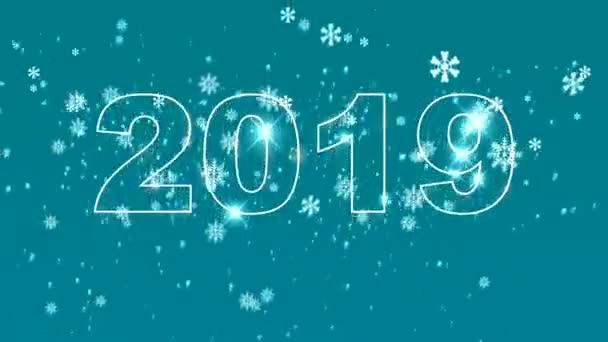 qualitativ hochwertige Neujahrs-Animation. Text 2018 wechselt auf 2019. Frohes neues Jahr Konzept. 4k uhd Auflösung