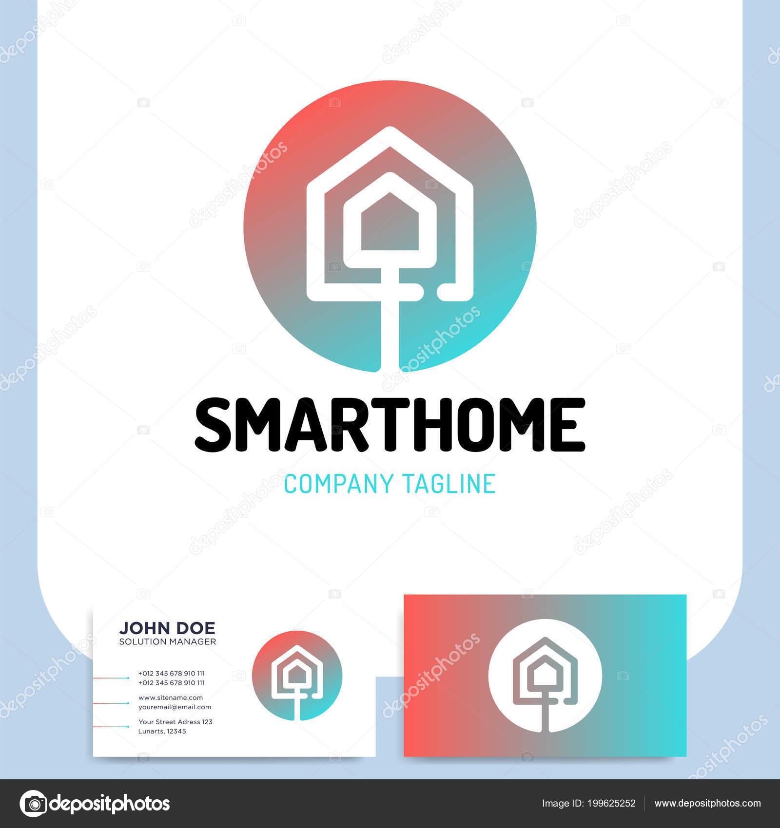 Puce Ou La Technologie Accueil Logo Dans Le Style De Ligne Avec Deux Maison Et Carte Visite Illustration Stock