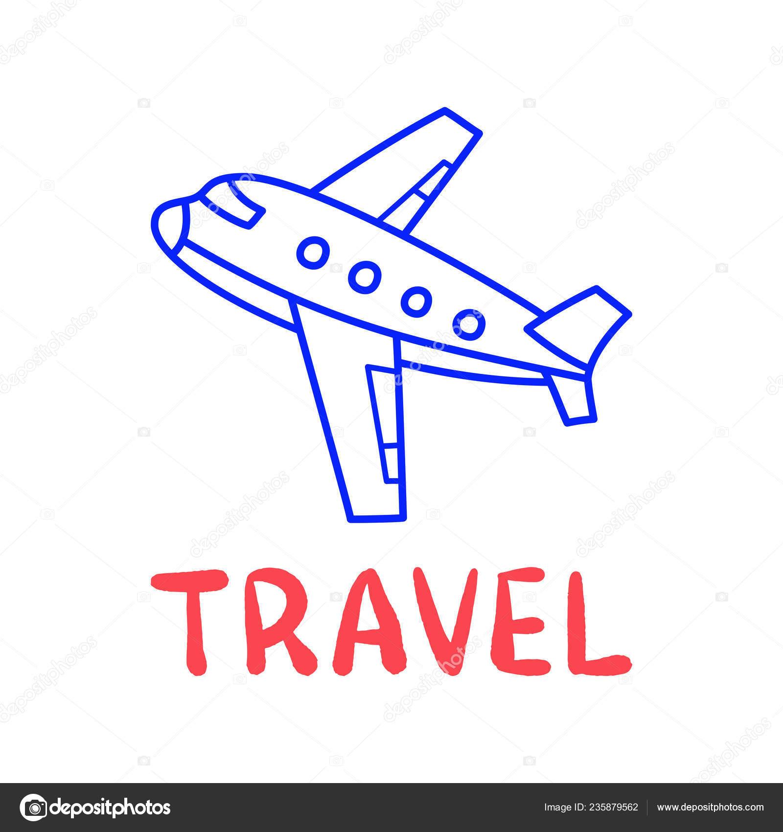 Cartoon Travel Plane Doodle Lettering Decoration Design Flying