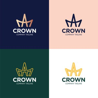 A and M letters monogram logo. Flat AM ligature king crown icon