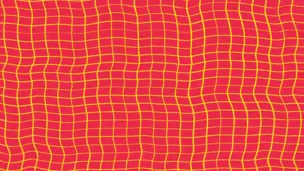 Abstraction of hypnotic yellow and red waves rotation. Stop motion Animation. Geometric lines patterns motion seamless loop background