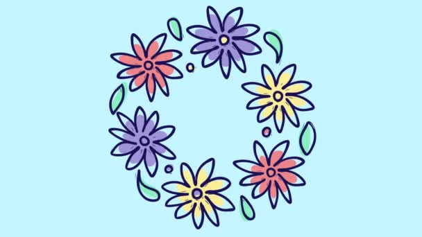Stop motion animation with round floral wreath, growing nature on blue background, blooming botanical pattern, bridal bouquet pastel colors