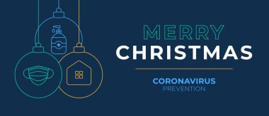 Christmas coronavirus ball banner. Christmas events and holidays during a pandemic Vector illustration. Covid-19 prevention icon