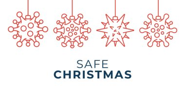 Safe Christmas coronavirus ball banner. Christmas events and holidays during a pandemic Vector illustration. Covid-19 prevention icon