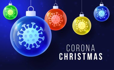 Corona Christmas concept. Glossy xmas balls with Covid-19 Coronavirus icon concept inscription typography design logo, Contagious diseases of the characters when exposed to a virus vector illustration icon