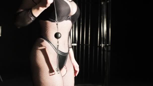 Hündin in erotischen Unterwäsche-Netz, in ihrer Hand hält sie einen Kugelgag für Bdsm Spiele.