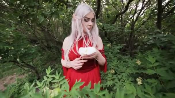 Krásná elfí dívka na zahradě. Bázlivě se dívá před sebe..