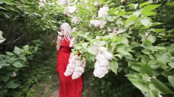 Krásná elfí dívka skrývající se v jarní zahradě mezi kvetoucími keři.