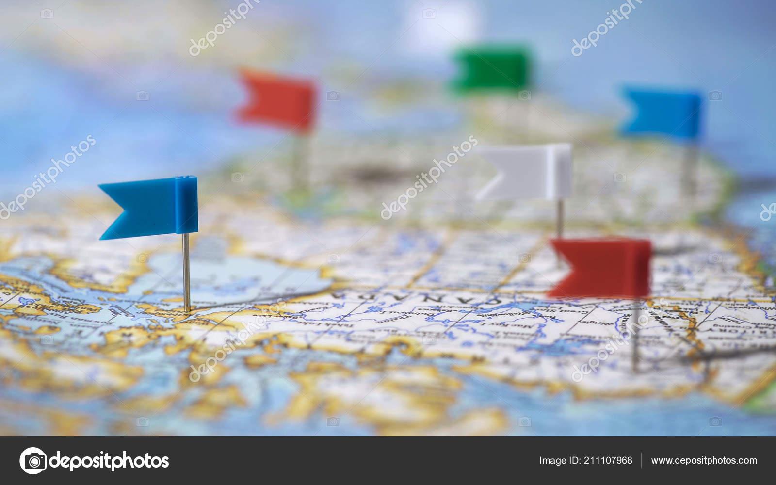 World Map Travel Pins.Travel Destinations Canada Marked Pins World Map Tourism Closeup