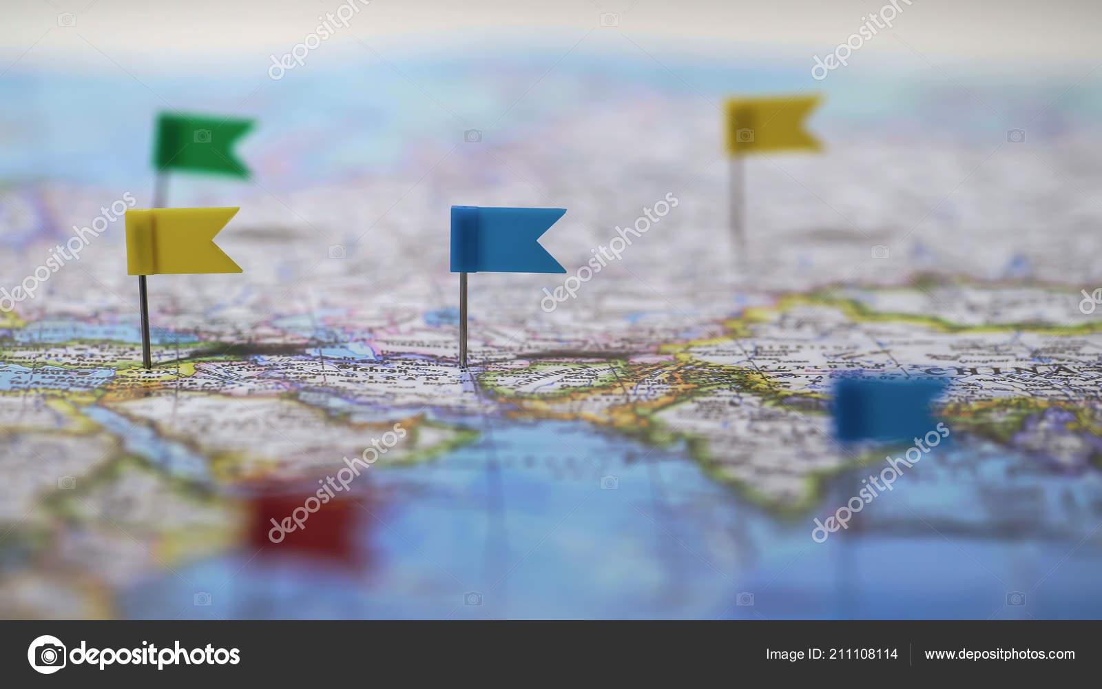 locations marked pins world map global communication network closeup