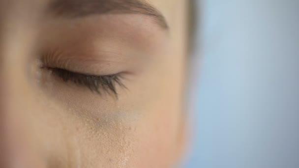 Mujer Triste Llorando Sufriendo Ojos Dolor Llenos Lágrimas Víctima