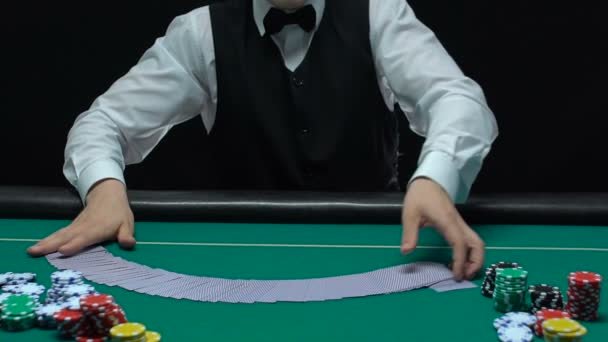 Casino Dealer Making Shuffling Tricks Cards Getting Ace Lucky Poker Video By C Motortion Stock Footage 217665386