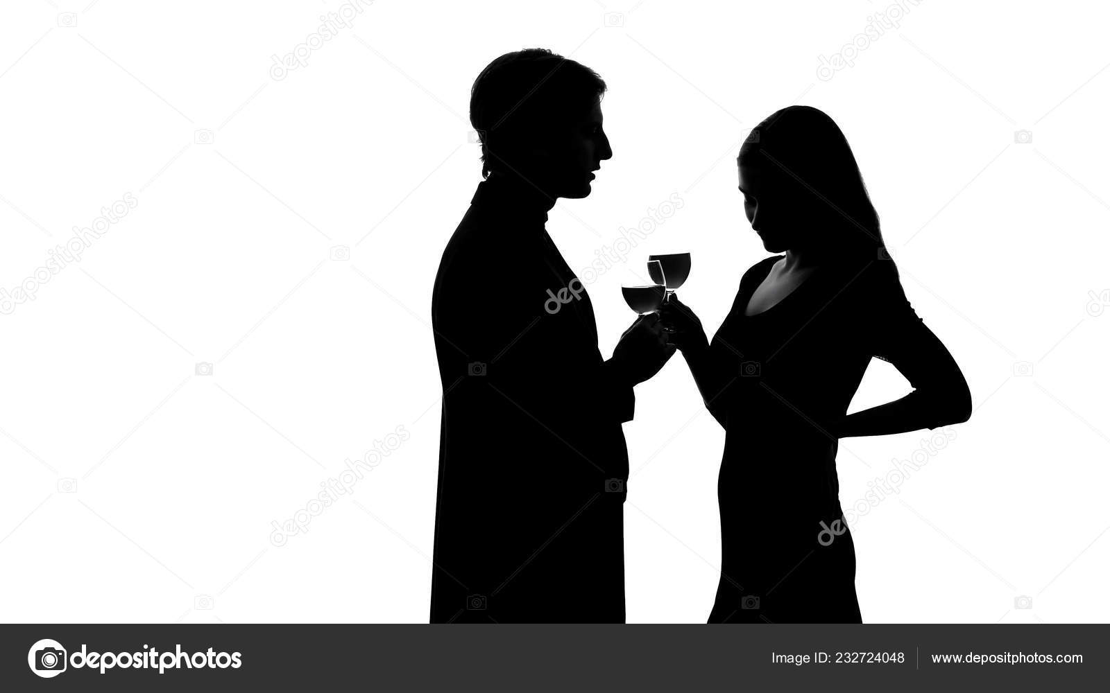 Silhouette Wealthy Man Getting Acquainted Pretty Lady Party