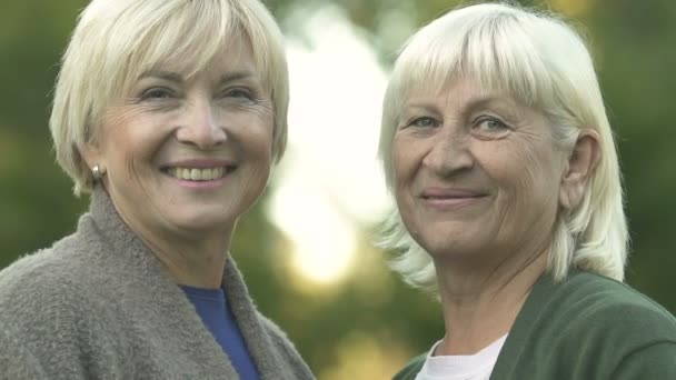 Blond Mature Women Smiling Camera Showing Thumbs Happy Pensioners Stock Video