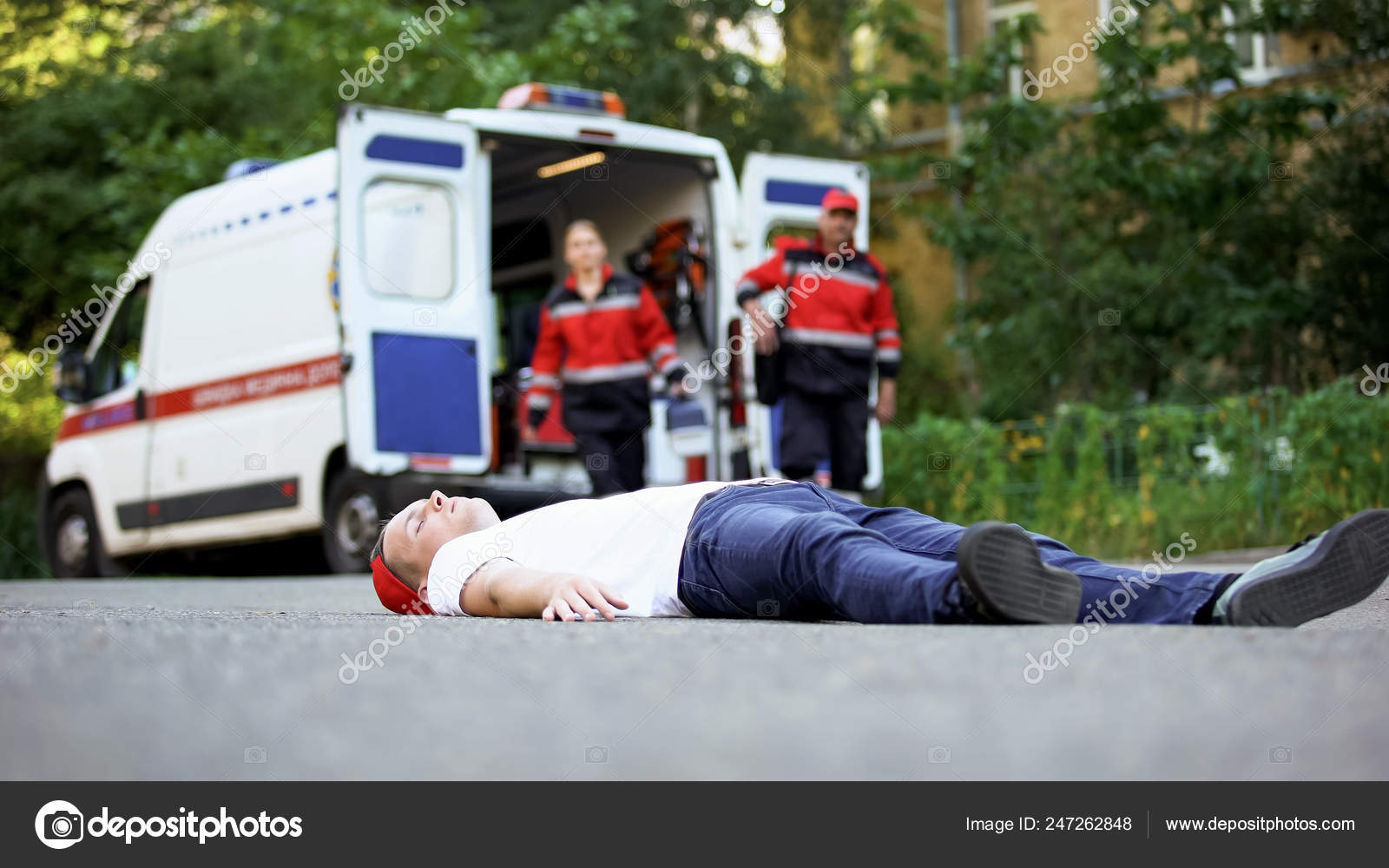 Unconscious Man Lying Road Paramedics Running Victim Car Accident
