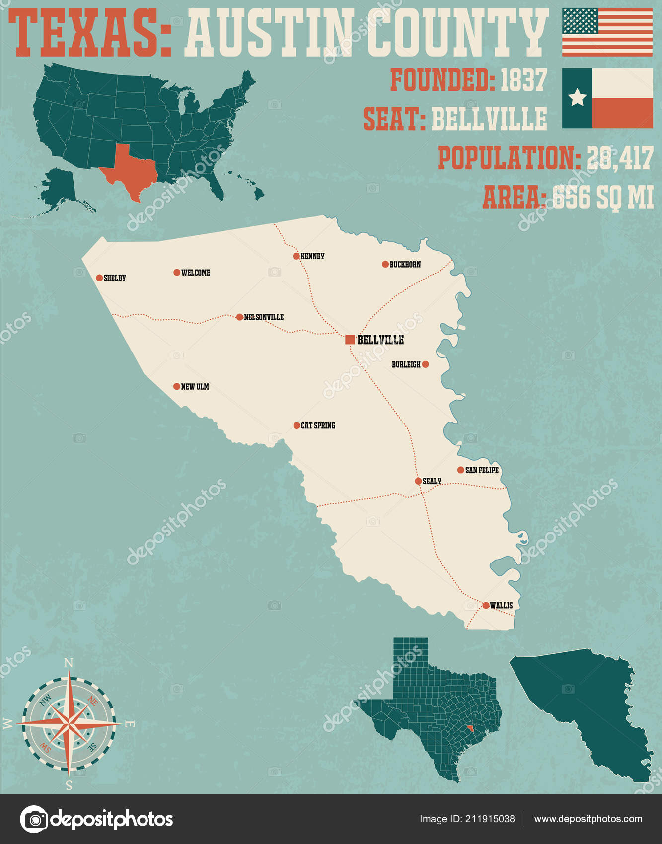 Detailed Map Austin County Texas Usa Stock Vector C Malachy666
