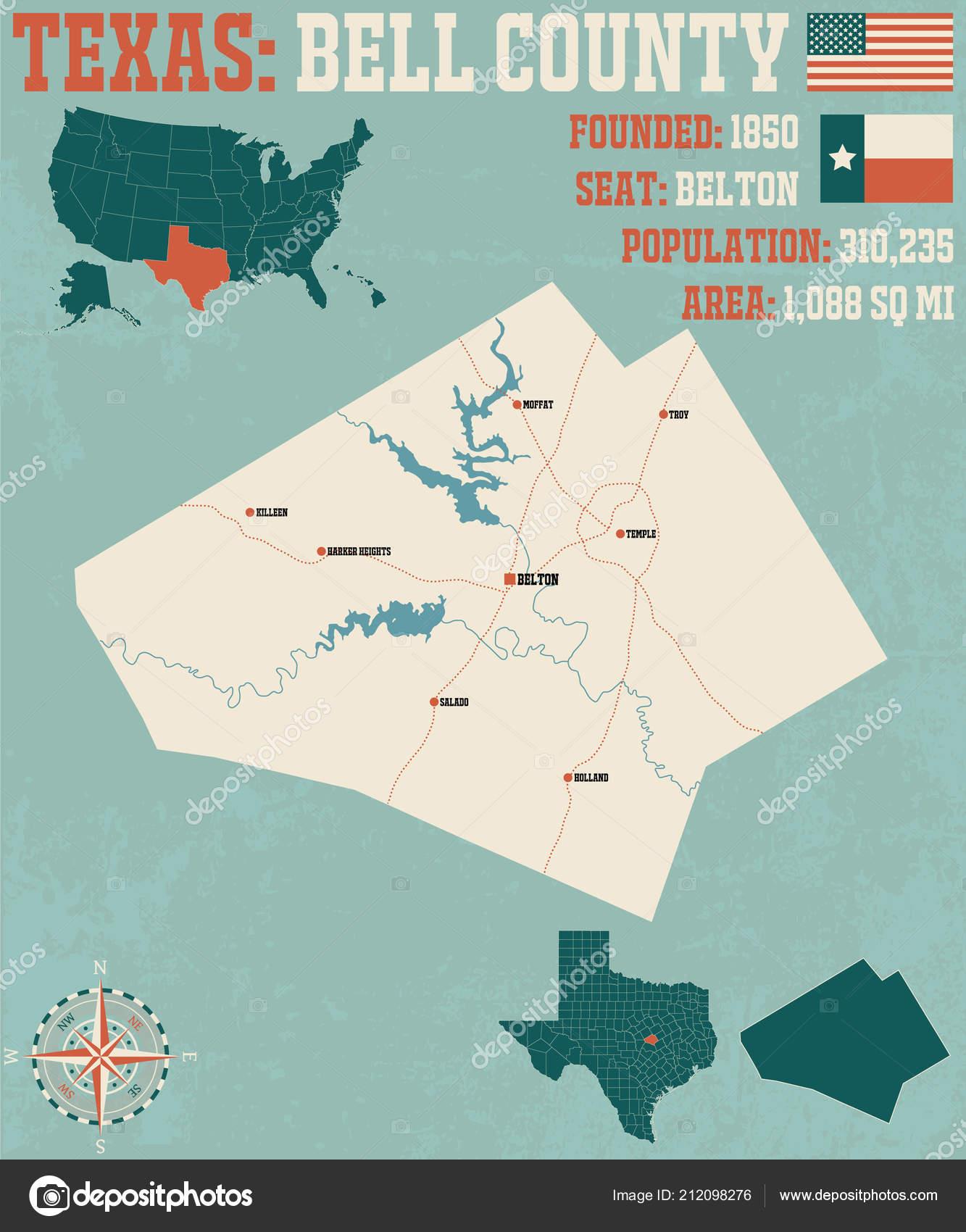 Detailed Map Bell County Texas Usa — Stock Vector © Malachy666