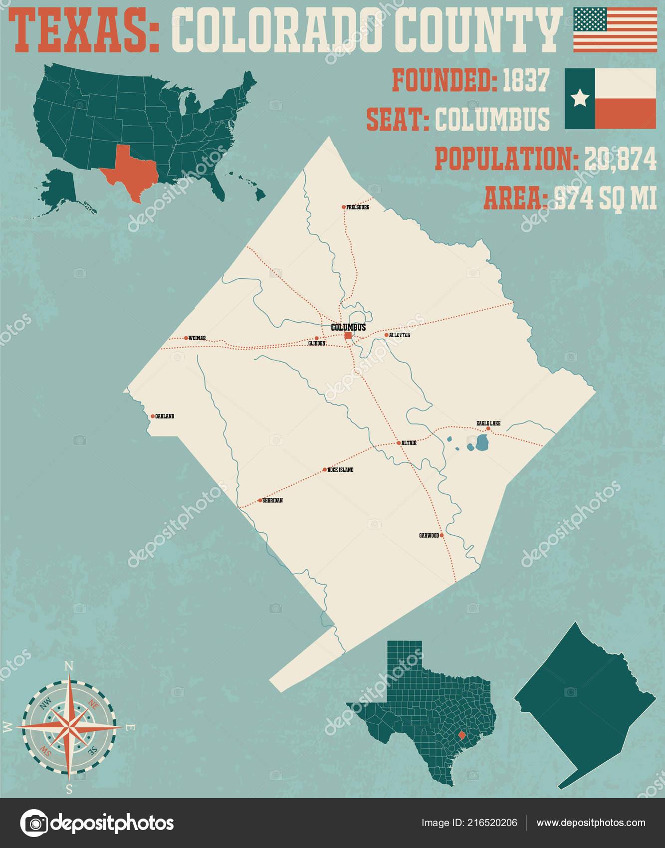 Detailed Map Colorado County Texas Usa — Stock Vector © Malachy666 ...