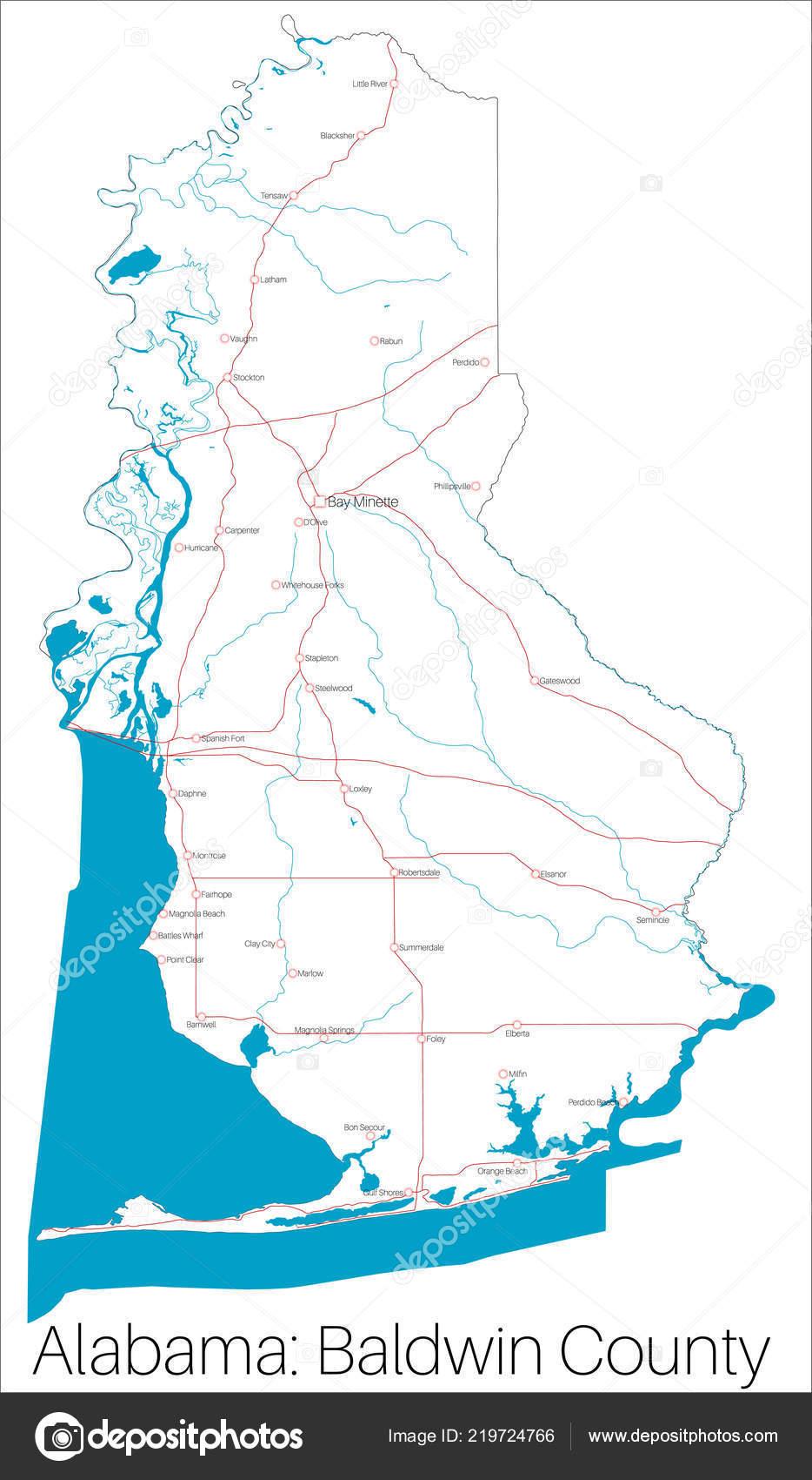 Detailed Map Baldwin County Alabama Usa — Stock Vector ... on dekalb county, baker county alabama map, madison county, nashville alabama map, houston county, pine grove alabama map, jefferson county, daphne alabama map, macon alabama map, autauga county alabama map, city of cullman alabama map, morgan county, spanish fort, gulf shores, escambia county, north alabama county map, orange beach, gulf shores alabama map, monroe county, black warrior river alabama map, montgomery county, barbour county alabama map, washington county, calhoun county, mobile county, st. augustine alabama map, baldwin beach express map, shelby county, silverhill alabama map, cook county alabama map, stockton alabama map, walton county alabama map, gulf state park alabama map, south carolina alabama map, perdido alabama map, butler county,