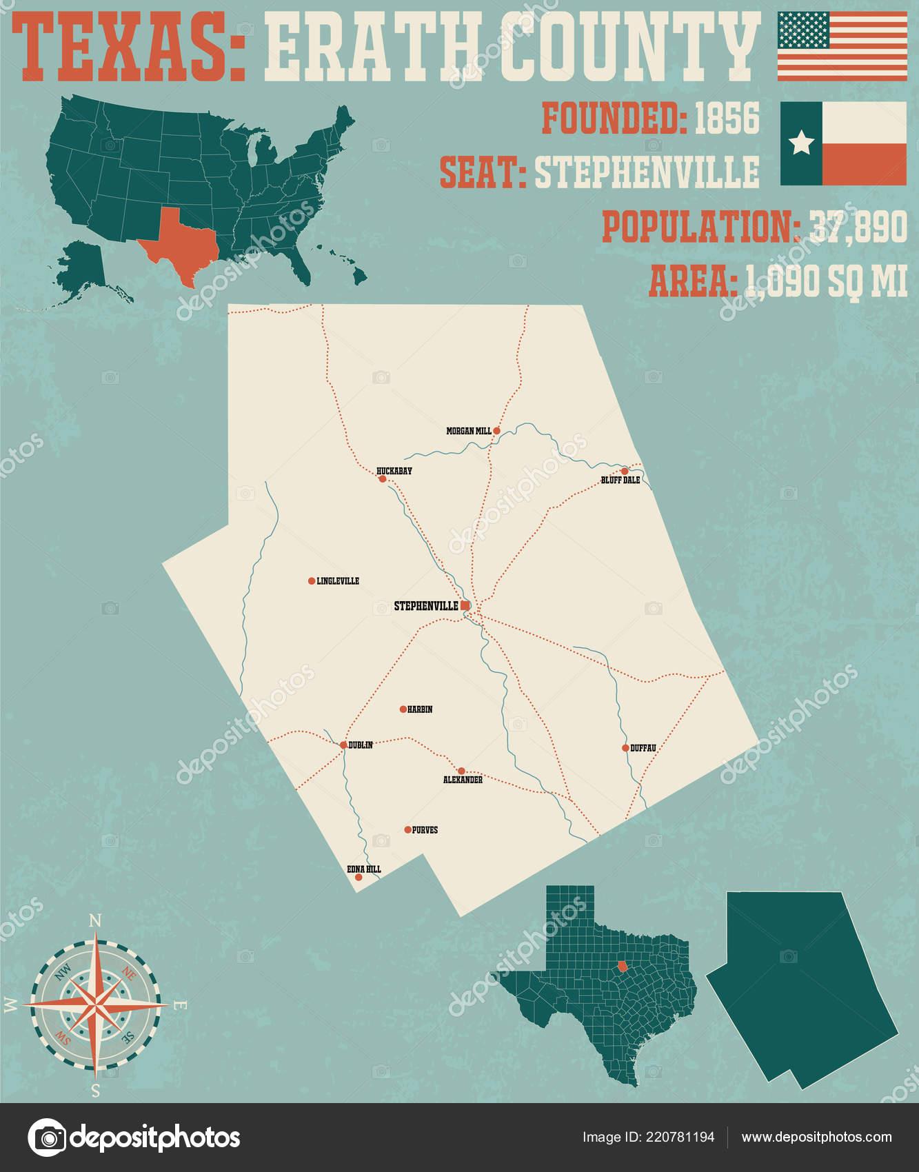 Detaillierte Karte Von Erath County Texas Usa — Stockvr ... on