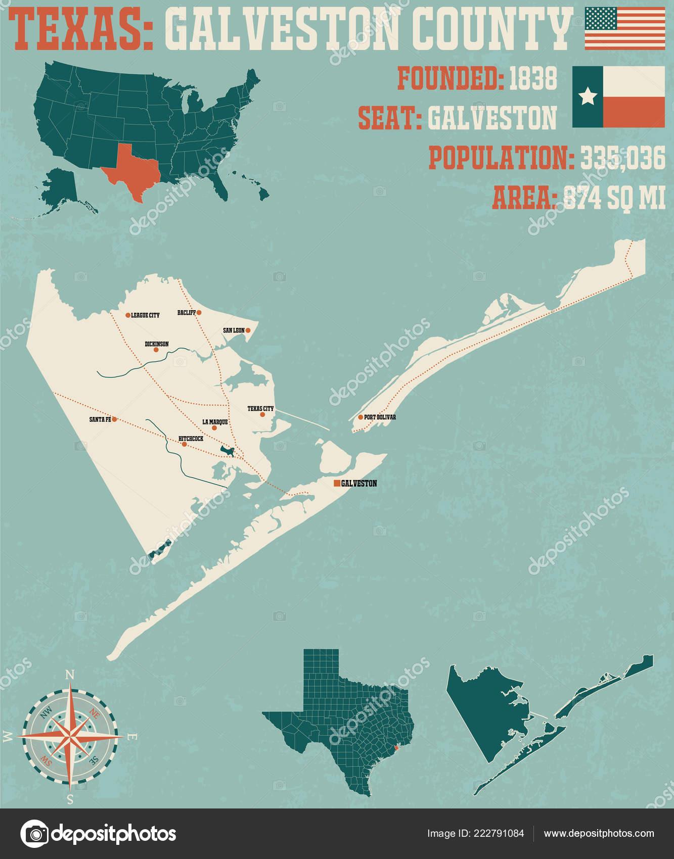 Detailed Map Of Usa.Detailed Map Galveston County Texas Usa Stock Vector C Malachy666