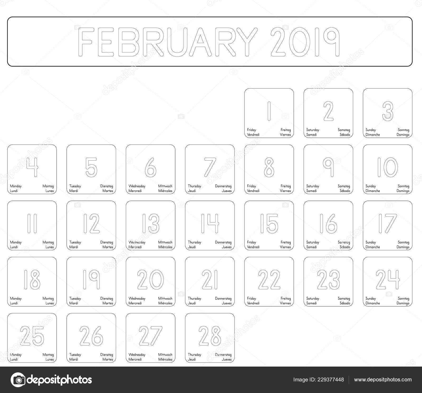 Calendario Diario 2019.Detallado Calendario Diario Del Mes Febrero 2019 Vector De
