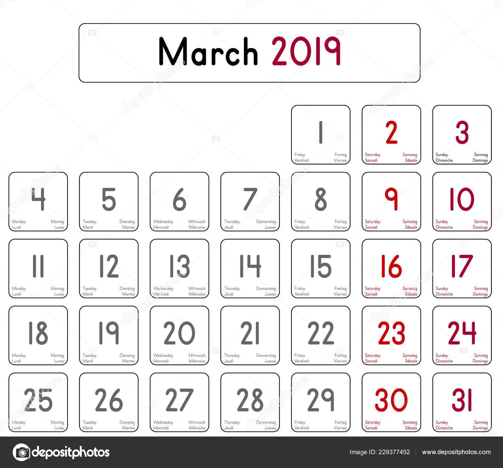 Detaille Jour Calendrier Mois Mars 2019 Image Vectorielle