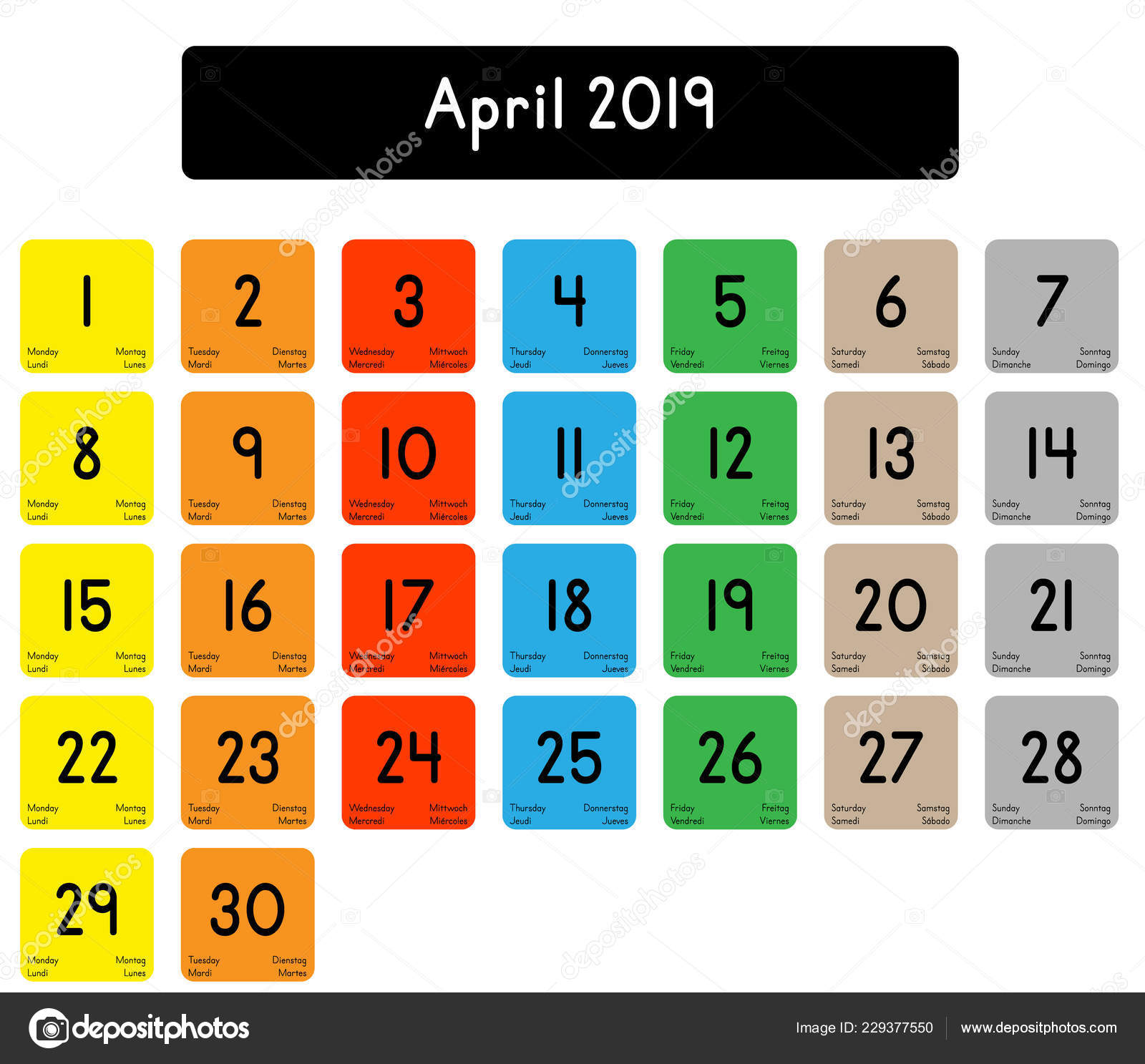 Detailed Daily Calendar Month April 2019 — Stock Vector