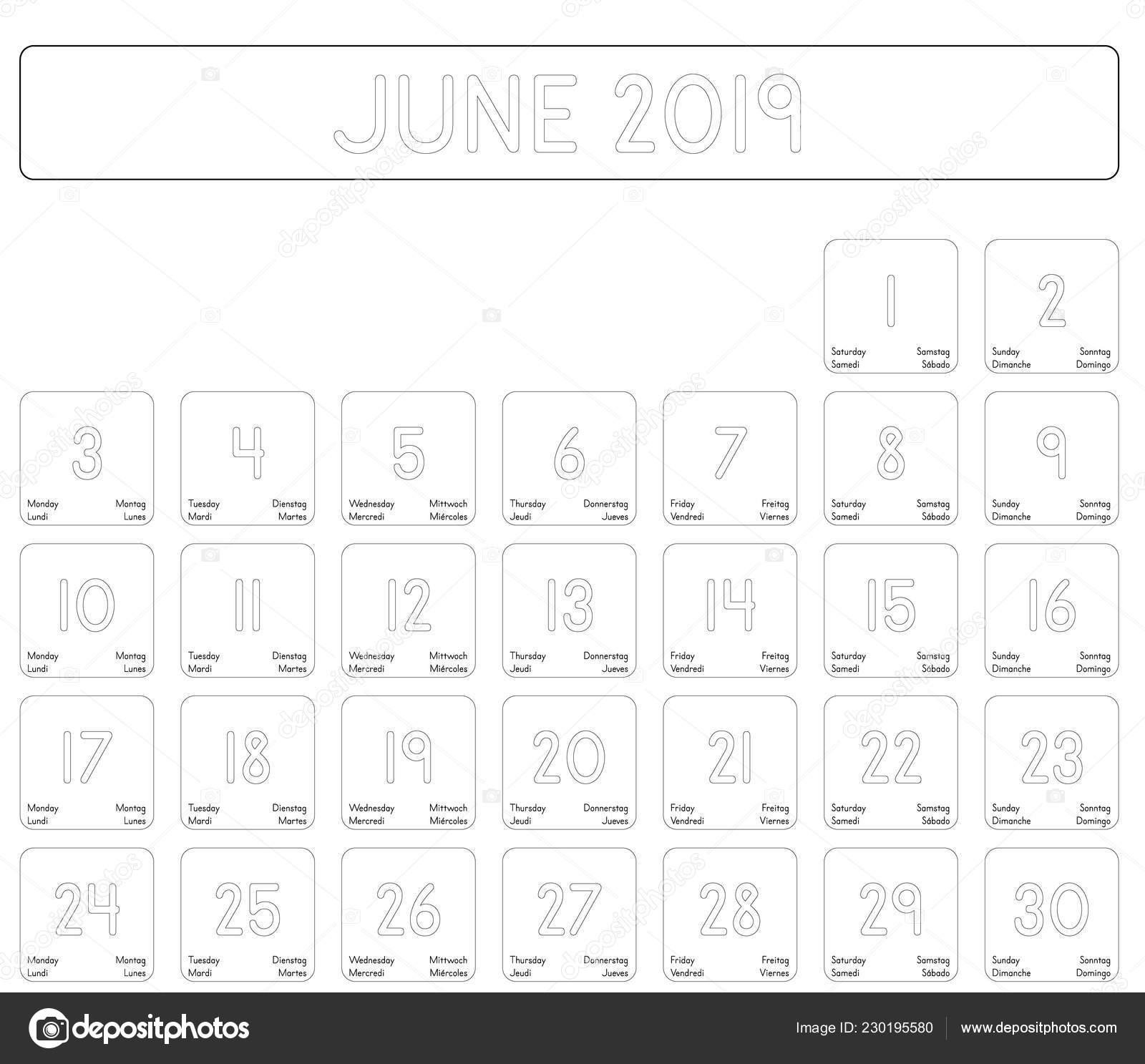 Calendario Mese Giugno.Calendario Dettagliato Giornaliero Del Mese Giugno 2019