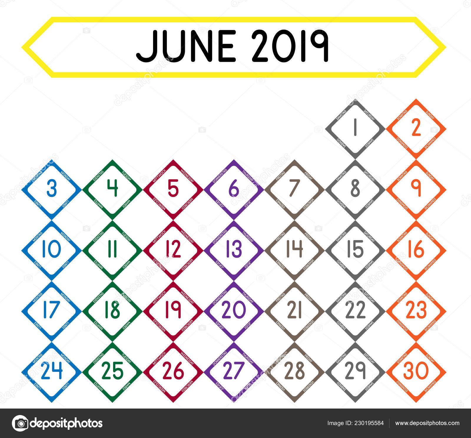 Calendario Diario 2019.Detallado Calendario Diario Del Mes Junio 2019 Archivo