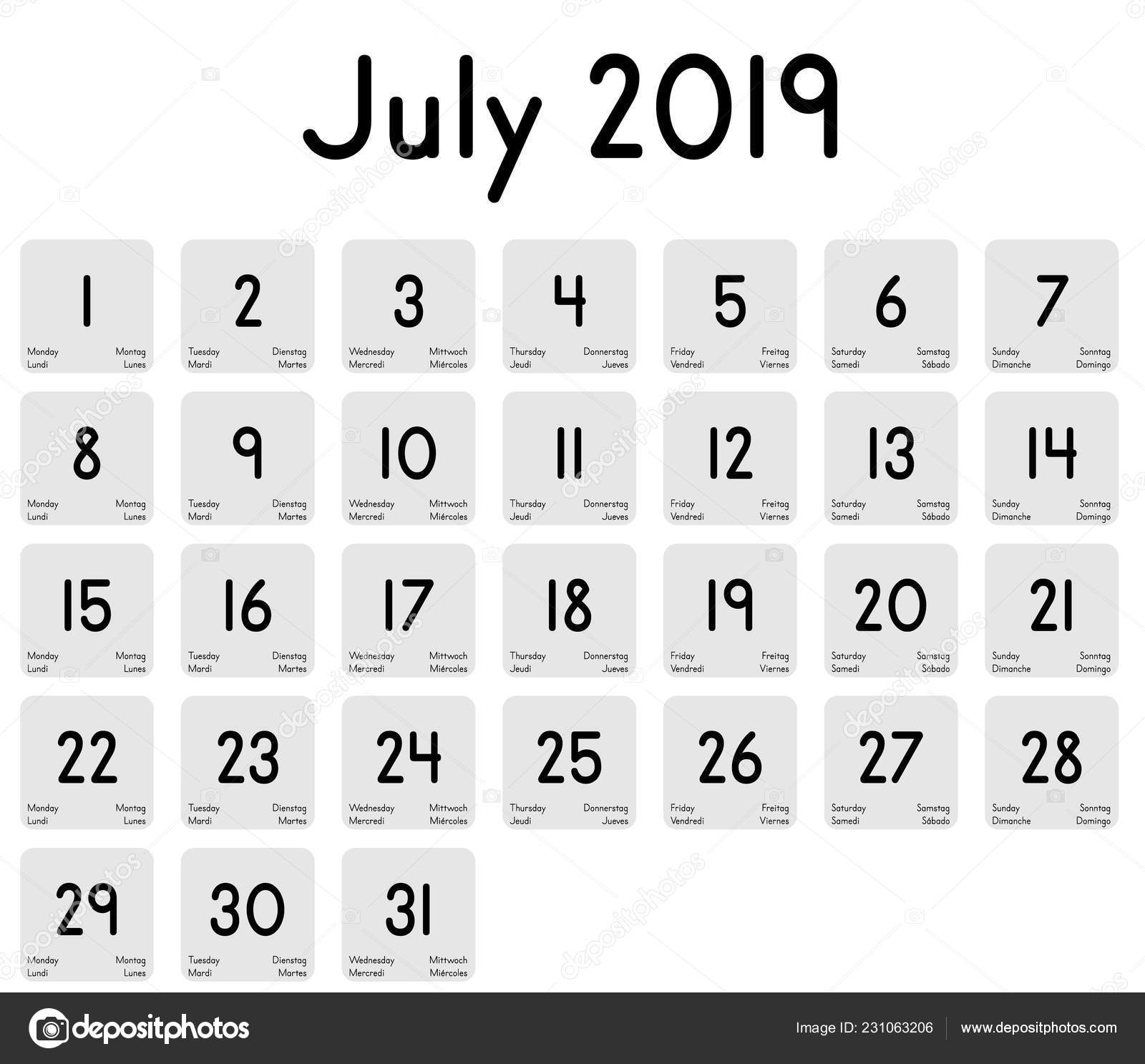 Calendario Mes De Julio.Detallado Calendario Diario Del Mes Julio 2019 Vector De Stock