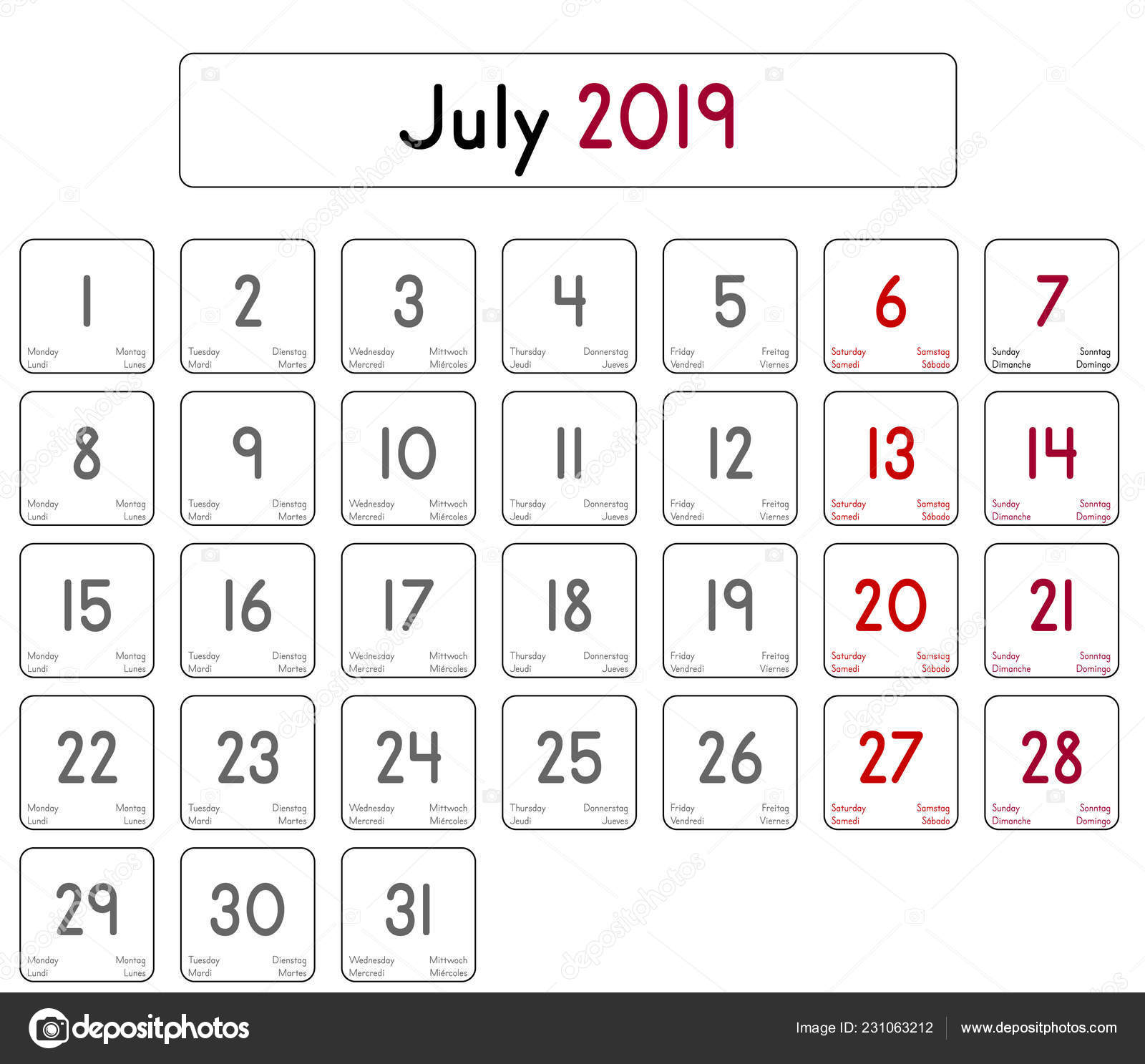 Calendario Julio 2019 Vector.Detailed Daily Calendar Month July 2019 Stock Vector