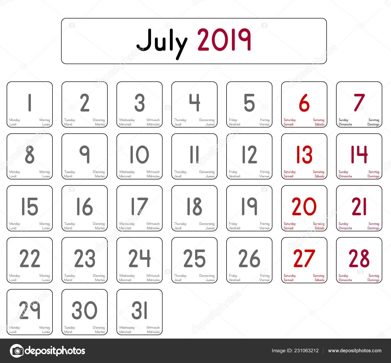 Mes De Julio Calendario.Detallado Calendario Diario Del Mes Julio 2019 Vector De