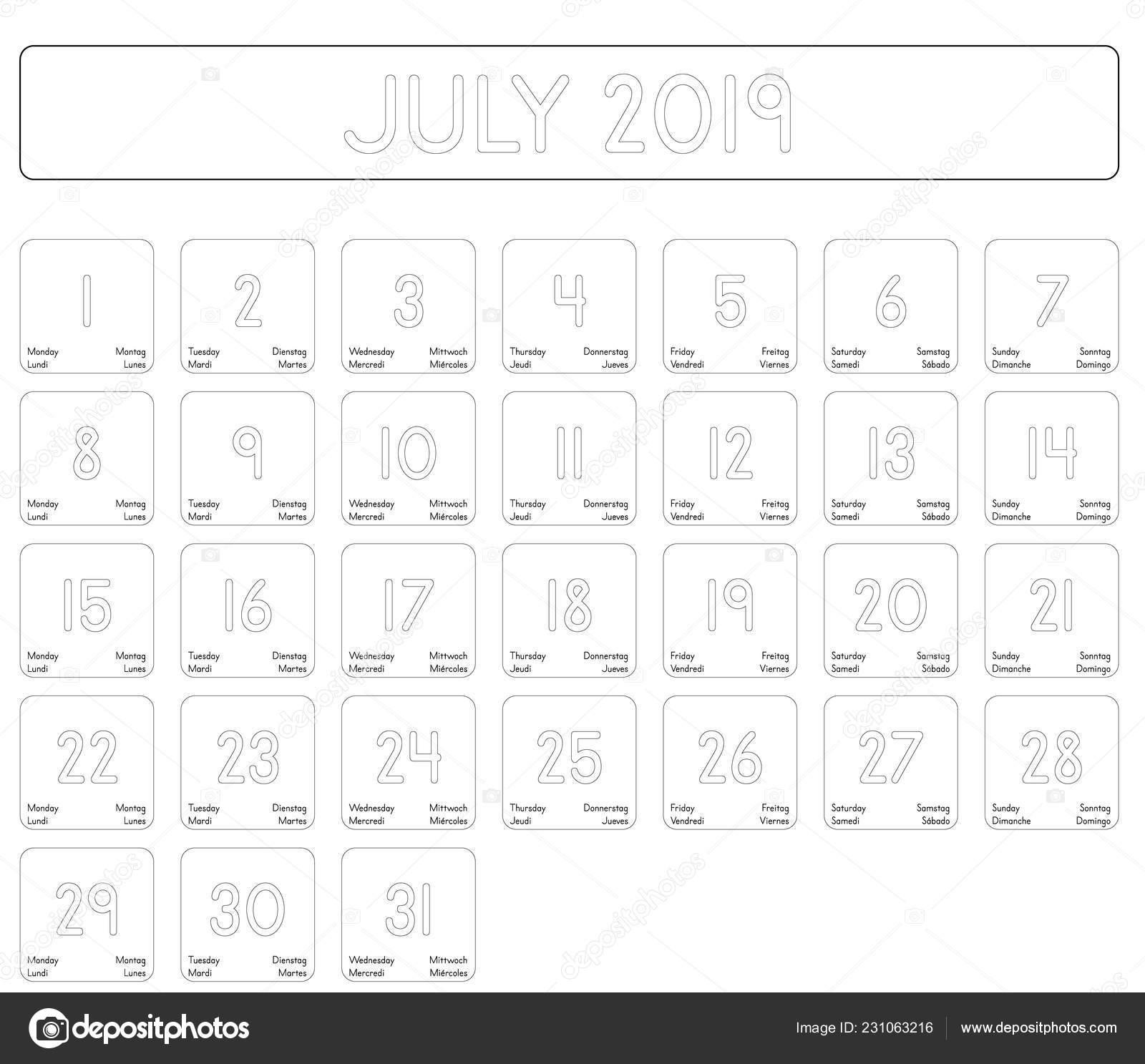 Calendrier Du Mois De Juillet 2019.Detaille Jour Calendrier Mois Juillet 2019 Image