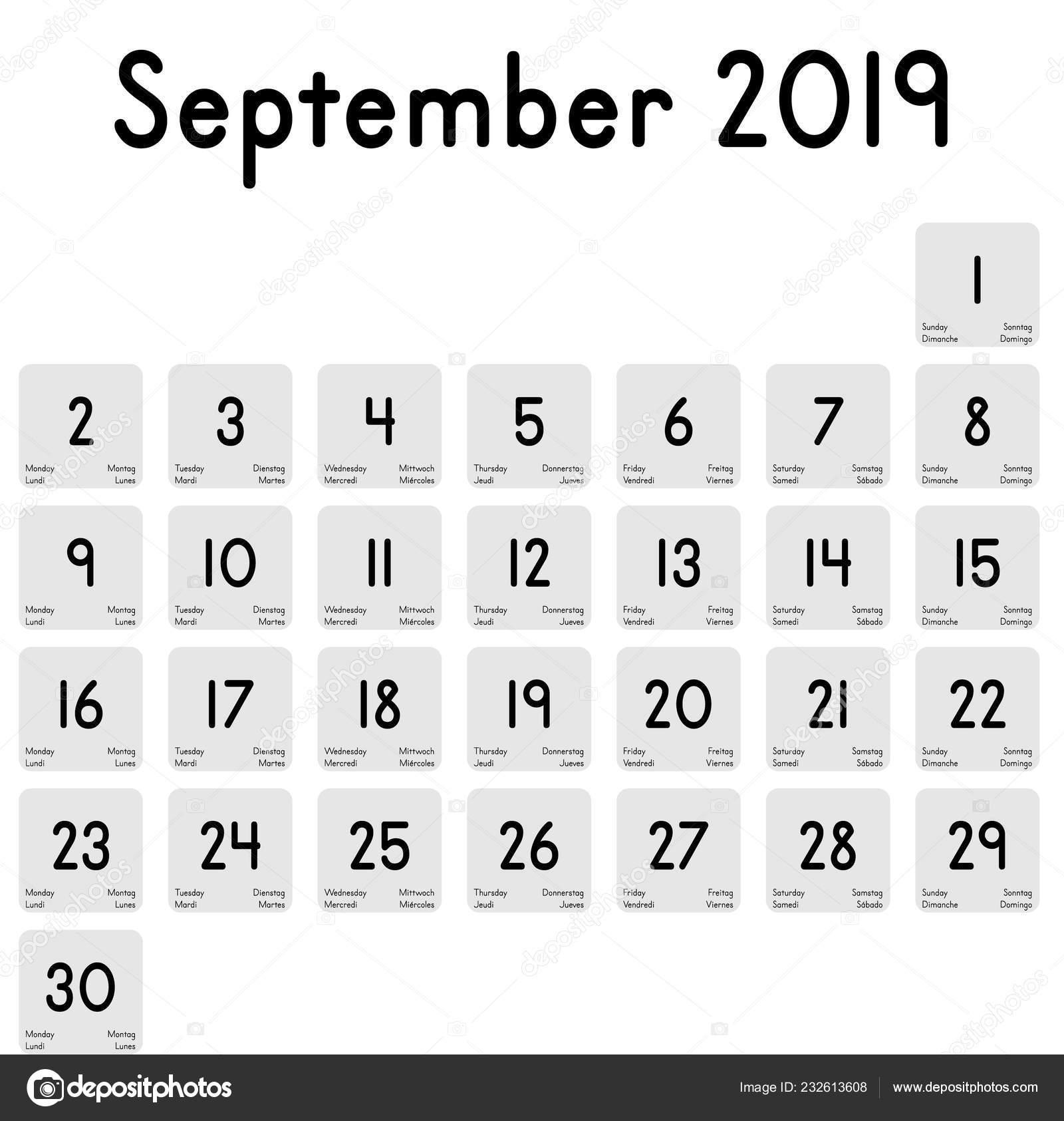 Calendario Diario.Detallado Calendario Diario Del Mes Septiembre 2019 Vector