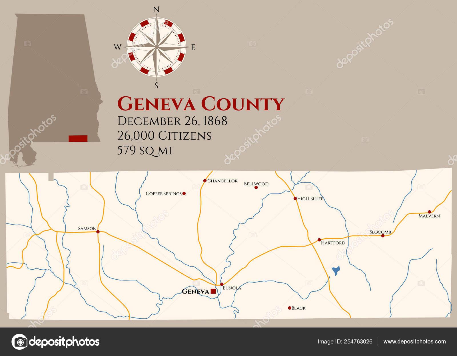 Large Detailed Map Geneva County Alabama Usa — Stock Vector ...