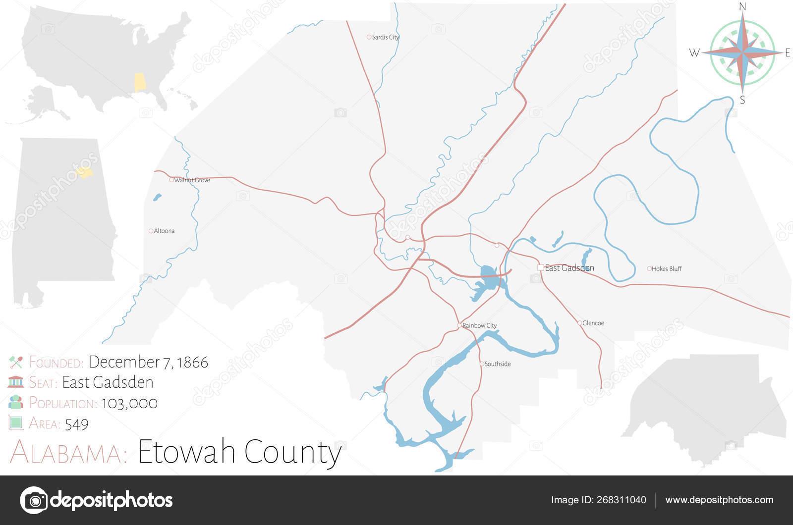 Large Detailed Map Etowah County Alabama Usa — Stock Vector ...