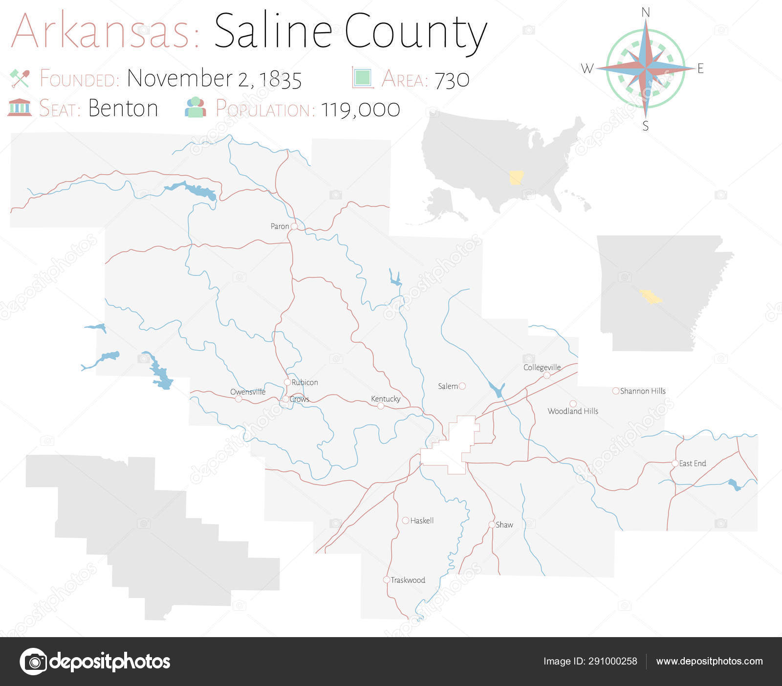 Large Detailed Map Saline County Arkansas Usa — Stock Vector ...