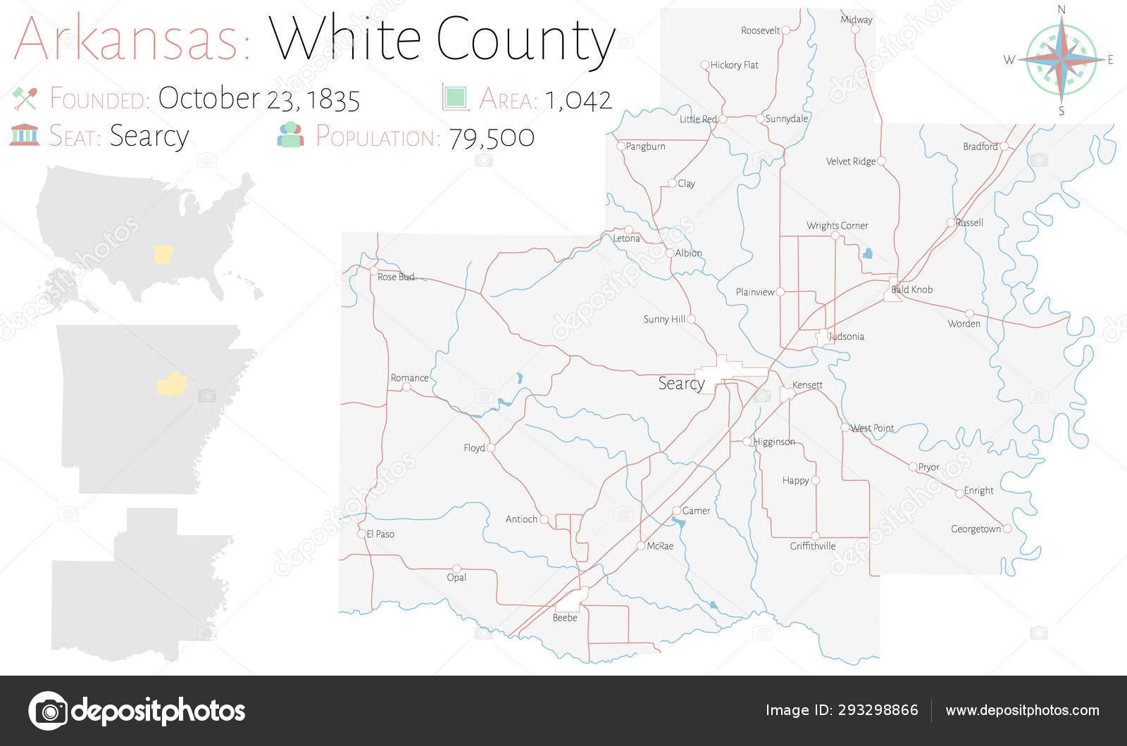 Large Detailed Map White County Arkansas Usa — Stock Vector ...