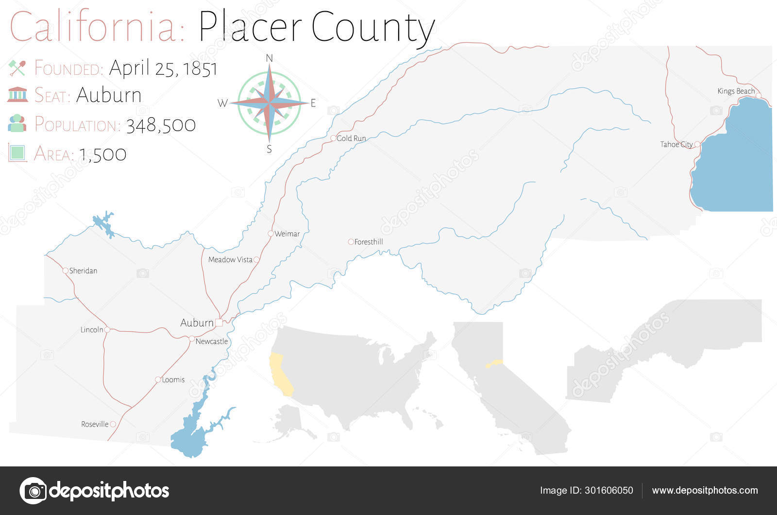 Large Detailed Map Placer County California Usa — Stock ...
