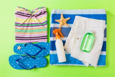 Flat lay composition with blue Beach accessories on green color background. Summer holiday background. Vacation and travel items top view