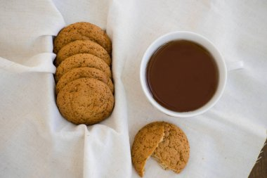 Homemade oatmeal cookies with raisins. Healthy biscuits.