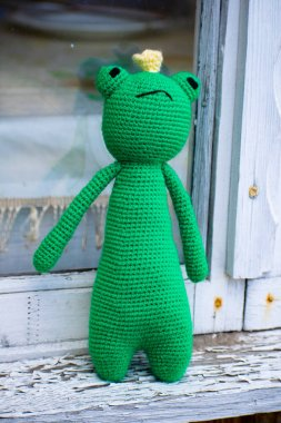 Knitted frog. Handmade toy - green frog for baby. Frog Traveler. Frog princess.