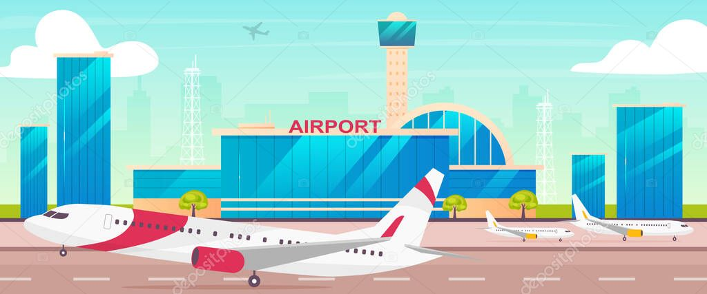 Airport Flat Color Vector Illustration Runway With Departing Plane 2d Cartoon Landscape With Control Tower On Background International Airline Transportation Business Civil Aviation Industry Premium Vector In Adobe Illustrator Ai