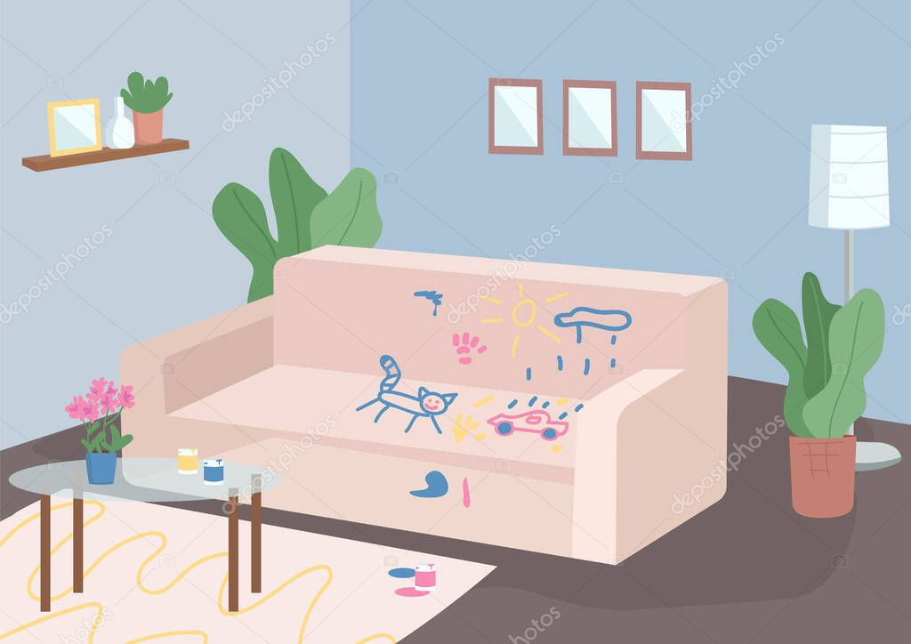 Messy Living Room Flat Color Vector Illustration Empty Room 2d Cartoon Interior With Furniture On Background Child Mischief Bad Behaviour Couch Painted With Kids Drawings Stressful Parenthood Premium Vector In Adobe