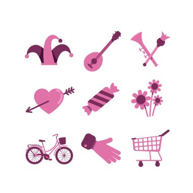 Valentines Day and shopping flat color vector objects set. Heart, flowers and candy romantic present. Jester hat and musical instruments 2D isolated cartoon illustrations on white background icon